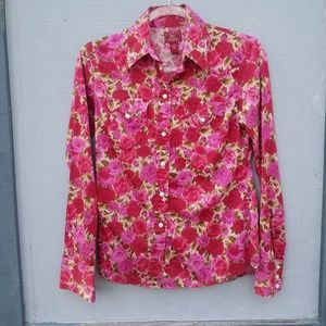 Lucky Brand-Rose Covered Button Down Western Shirt